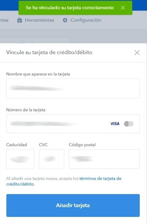 Tarjeta de credito - vinculación correcta