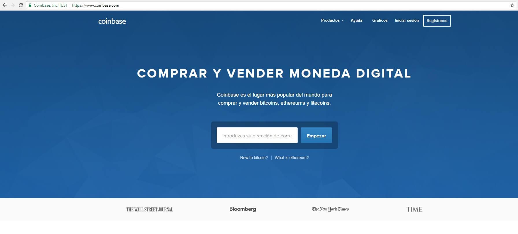 Pagina Coinbase. Inicio