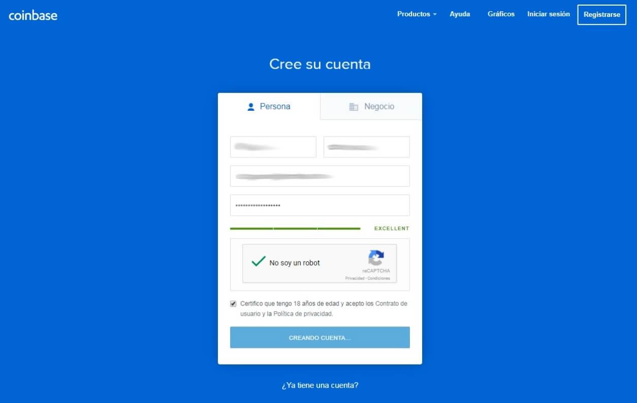 Pagina Coinbase. Después del registro