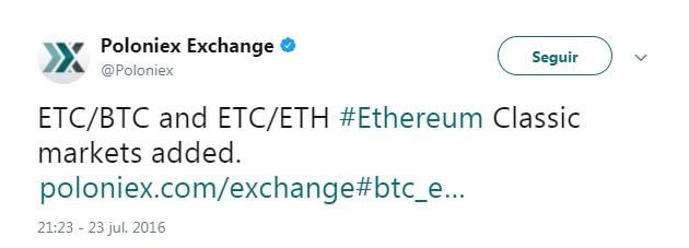 Tweet Poloniex ETC añadido