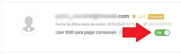activar bnb comisiones binance