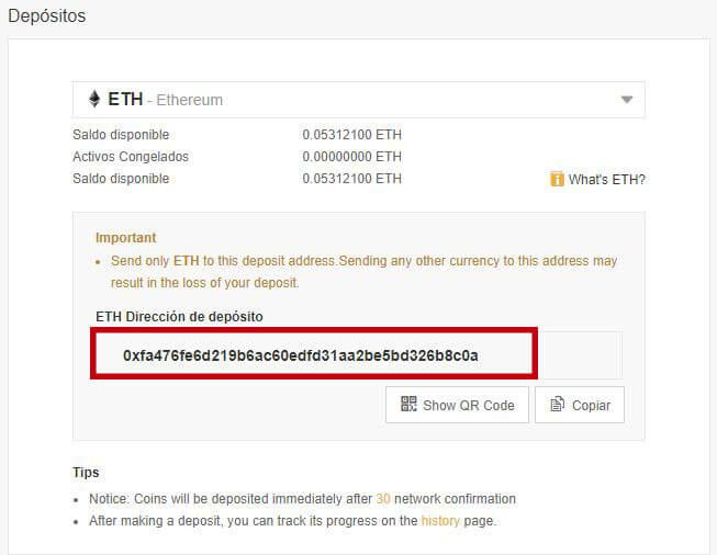 deposito ethereum binance