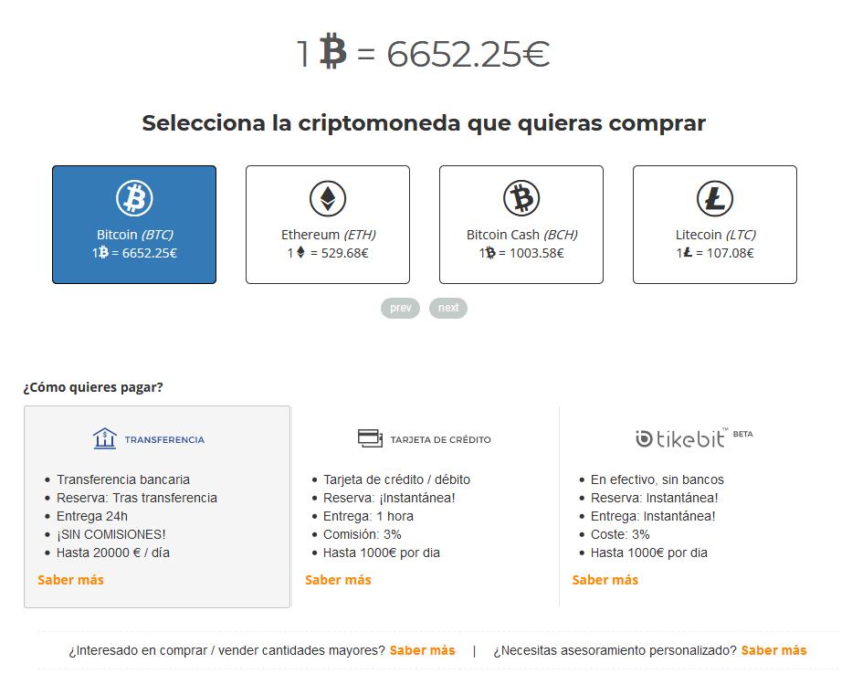 seleccionar criptomoneda bit2me