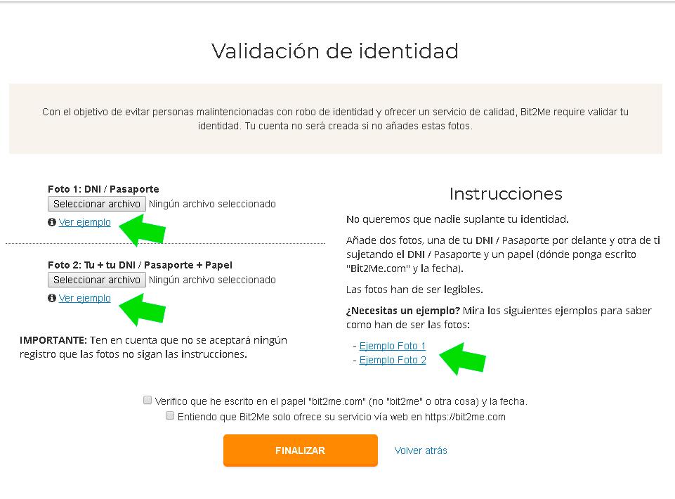 verificacion identidad bit2me