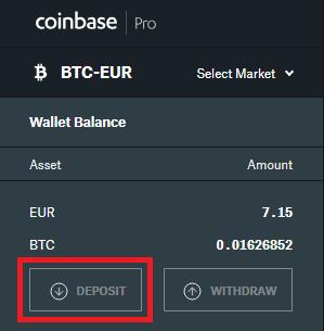 depositar dinero en coinbase pro